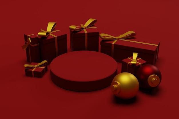 3d podium kerst achtergrond met rode kleur