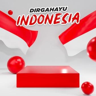 3d podium voor de onafhankelijkheidsdag van indonesië