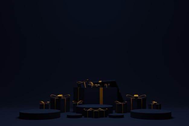 3d podiumpodium voor kerstachtergrond