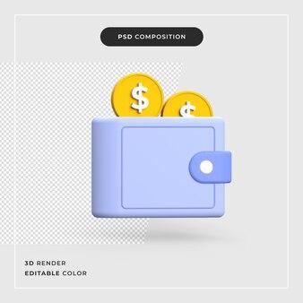 3d-portemonnee met dollar