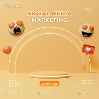 3d-postsjabloon voor sociale media en webbanneradvertenties