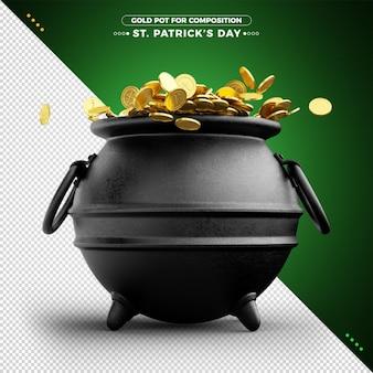 3d pot met goud voor st. patrick's day voor compositie