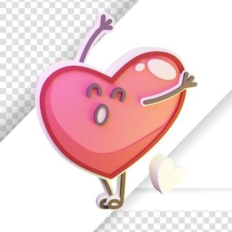3d prestados de la emoción del corazón de dibujos animados feliz