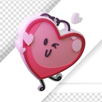 3d prestados de la emoción del corazón de dibujos animados con signo de amor