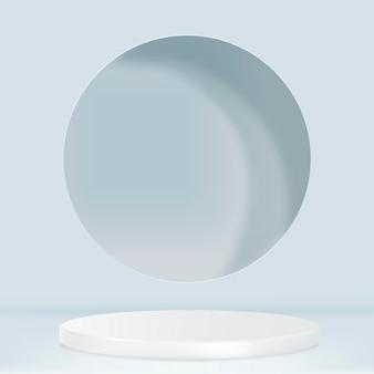 3d-productachtergrond psd met displaypodium in blauwe tint