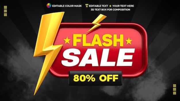 3d-promotiebanner voor flash-verkoop met tot 80% korting