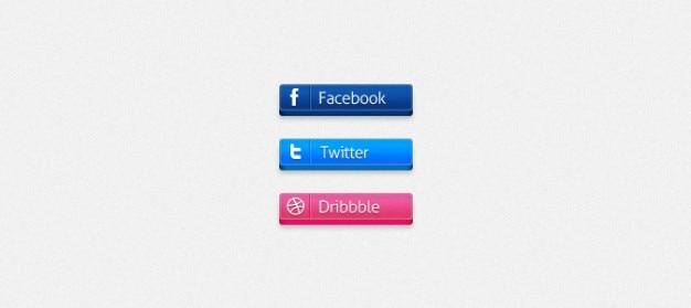 3d pulsanti sociali (facebook / twitter / dribbble)