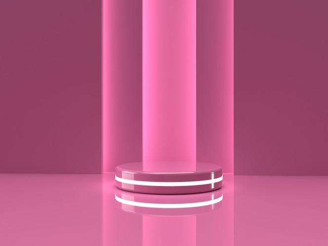 3d que rinde el soporte rosado del producto en fondo.