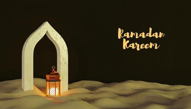 3d ramadan kareem-decoratie met lamp en zand