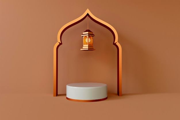 3d ramadan kareem met podium