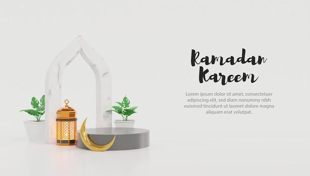 3d ramadan kareem-sjabloon met podium