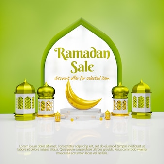 3d ramadan verkoop sociale media banner met podium
