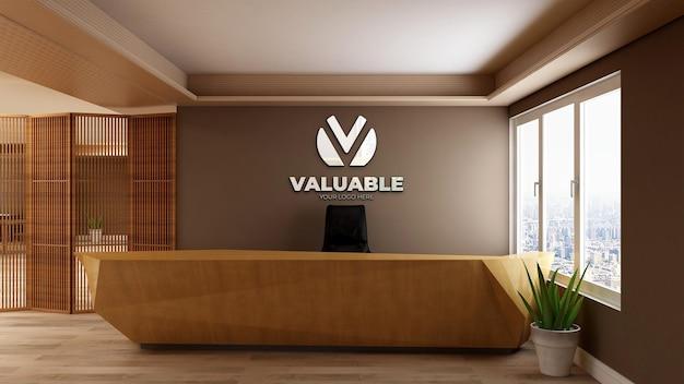 3d-realistisch logo mockup teken in de houten receptioniste kantoorruimte