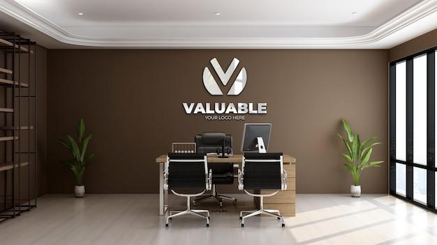 3d-realistisch logomodel in de kamer van de kantoormanager