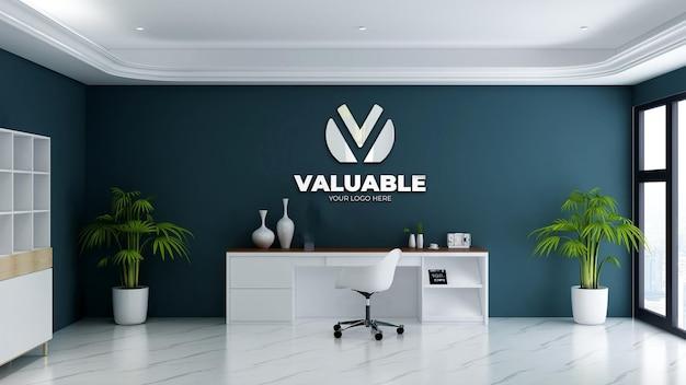 3d-realistisch logomodel in de kantoormanagerkamer office