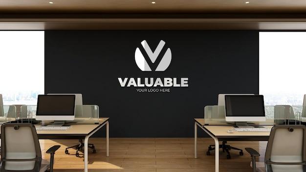 3d-realistisch logomodel in kantoorwerkruimte met houten interieur
