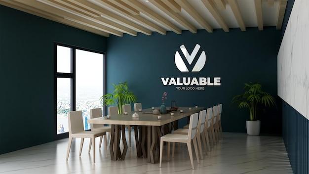 3d-realistisch logomodel in moderne vergaderruimte