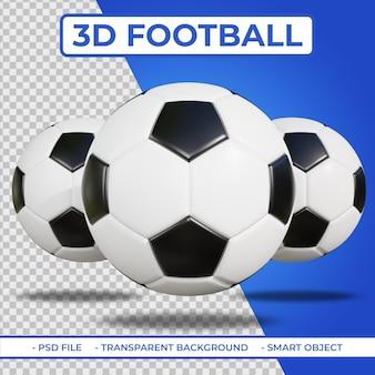 3d realistische 3 voetbal of voetbal 3d-rendering geïsoleerd