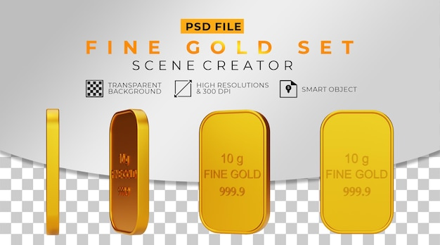 3d-realistische fijne gouden set