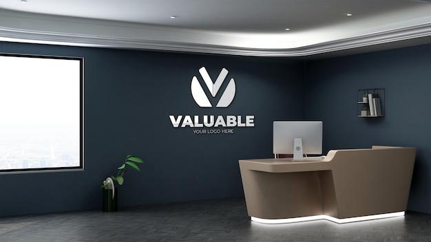 3d-realistische logo-mockup in de kamer van de kantoorreceptionist