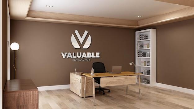 3d-realistische logo-mockup in de kantoorruimte van het bedrijf
