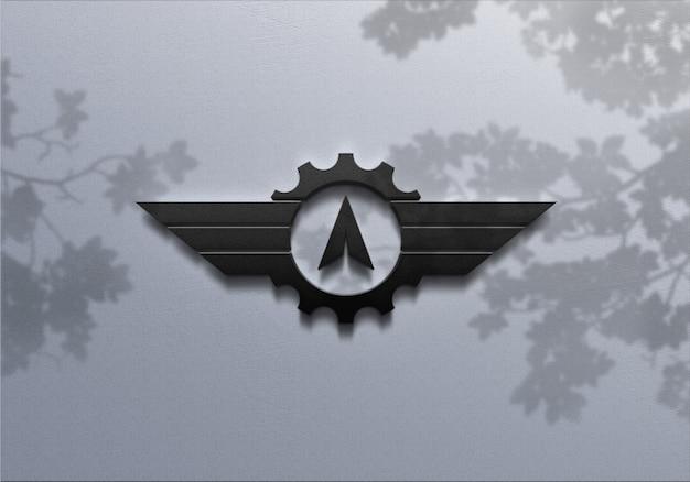 3d-realistische logo-mockup op de muur
