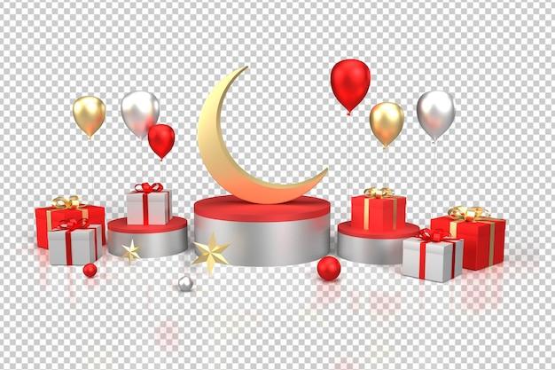 3d-realistische render geschenken en ballonnen vooraanzicht