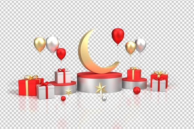 3d-realistische render geschenken en ballonnen