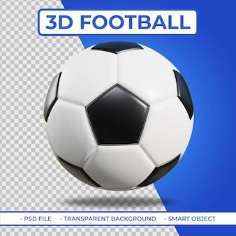3d realistische voetbal of voetbal 3d-rendering geïsoleerd