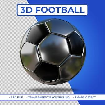 3d realistische zilver en zwart metalic voetbal 3d-rendering geïsoleerd
