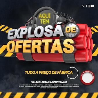 3d-rechts render explosie van aanbiedingen voor algemene winkels en campagnes in brazilië