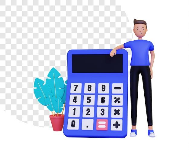 3d-rekenmachine met karakter van een staande man
