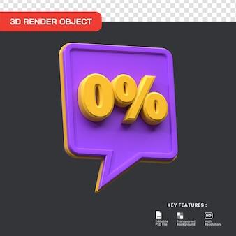 3d render 0 procent verkoop promo korting. handig voor e-commerce en online winkelen illustratie