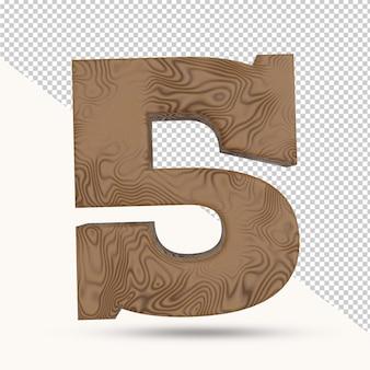 3d render 5 nummer houten textuur geïsoleerd
