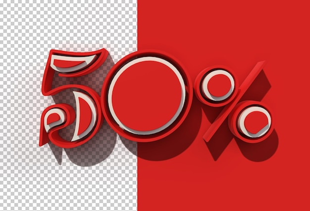 3d render 50% korting korting banner korting ontwerp transparant psd-bestand.