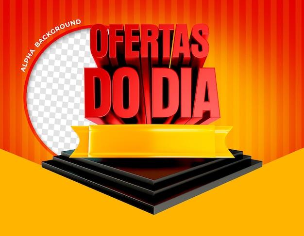 3d render aanbiedingen van de dag op het podium in brazilië