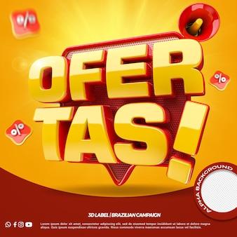 3d render aanbiedingen voor algemene winkels-campagne in het portugees