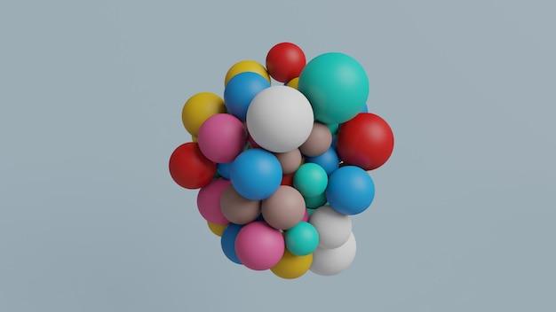 3d render abstracte kleurrijke geometrische veelkleurige ballen ballonnen
