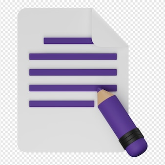 3d render aislado de editar icono de documento psd