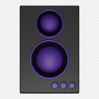 3d render aislado del icono de altavoz psd
