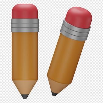 3d render aislado del icono de lápiz psd