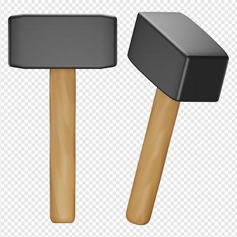 3d render aislado de icono de martillo de mango de madera psd