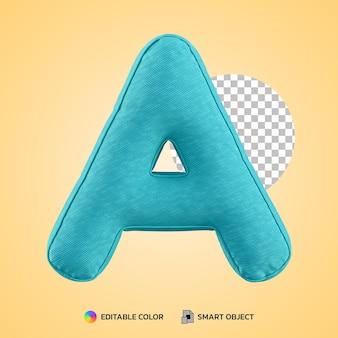 3d render alfabet kussen kussen letter een vorm