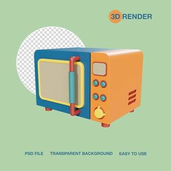 3d render aparato microondas psd