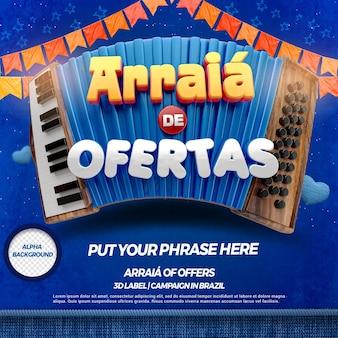 3d render arraia-aanbiedingen met accordeon en vlaggen voor festa junina in braziliaans