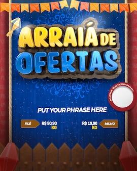 3d render arraia junina-feestaanbiedingen in het braziliaans