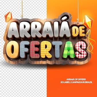 3d render arraia van aanbiedingen voor festa junina in het braziliaans
