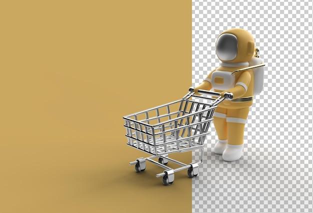 3d render astronaut met winkelwagen transparant psd-bestand