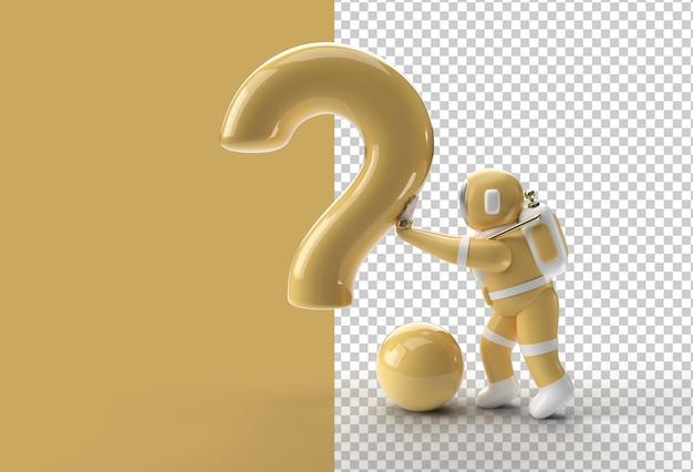 3d render astronaut staande met vraagteken