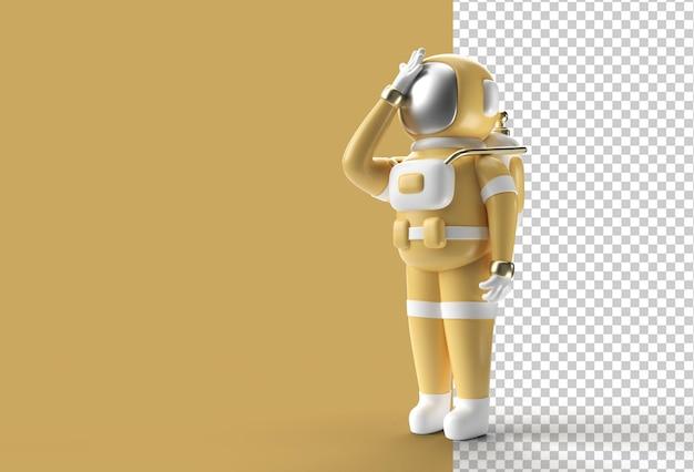 3d render astronauta astronauta dolor de cabeza, decepción, gesto cansado